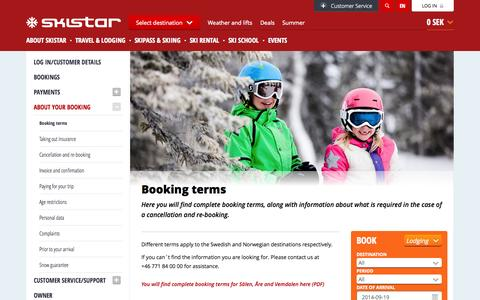 Screenshot of Terms Page skistar.com - Booking terms - captured Sept. 19, 2014