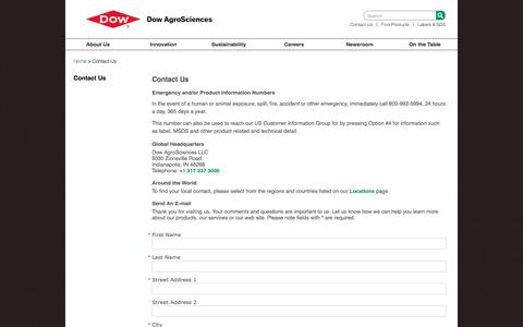 Screenshot of Contact Page dowagro.com - Contact Us   Dow AgroSciences - captured Nov. 24, 2016