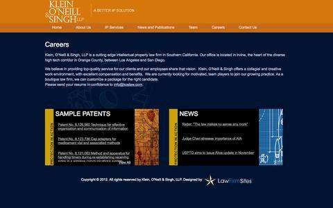 Screenshot of Jobs Page koslaw.com - Careers | Klein, O'Neill & Singh LLP - captured Oct. 27, 2014