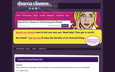 Screenshot of Contact Page dramaclasses.biz - Contact Us - Drama Classes: The UK's National Database of Drama Schools and Drama Classes | - captured Oct. 9, 2018