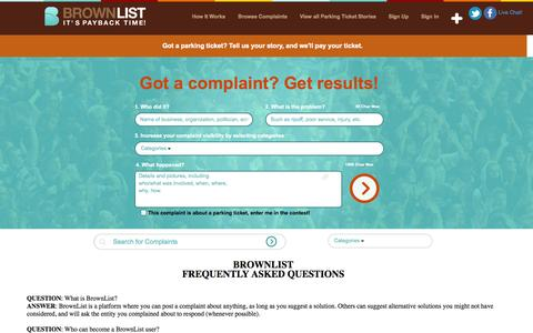 Screenshot of FAQ Page brownlist.com - BrownList | FAQ's - captured Sept. 30, 2014