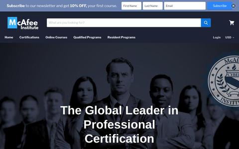 Screenshot of Home Page mcafeeinstitute.com - McAfee Institute - Intelligence & Investigation Certifications - captured Sept. 20, 2019