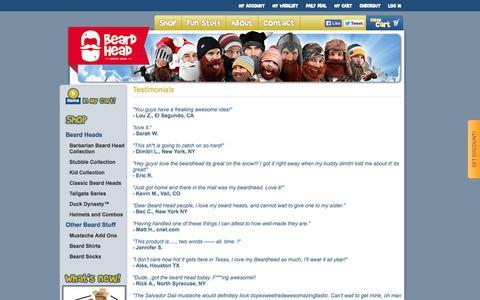 Screenshot of Testimonials Page beardhead.com - Beardhead.com - Testimonials - captured Sept. 24, 2014