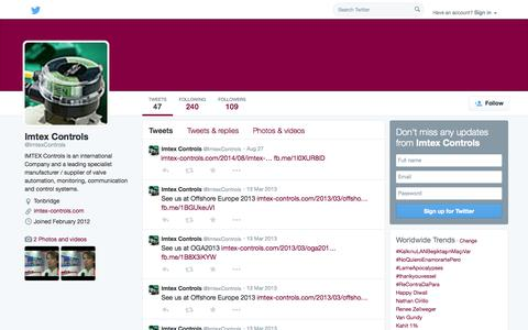Screenshot of Twitter Page twitter.com - Imtex Controls (@ImtexControls) | Twitter - captured Oct. 23, 2014