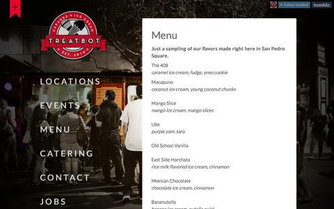 Screenshot of Menu Page treatbot.com - Menu - Treatbot - captured Oct. 7, 2014