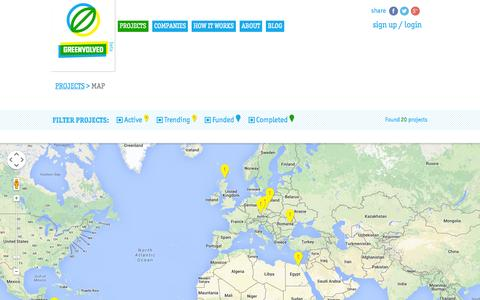 Screenshot of Maps & Directions Page greenvolved.com - Greenvolved - Map Proj - captured Sept. 30, 2014