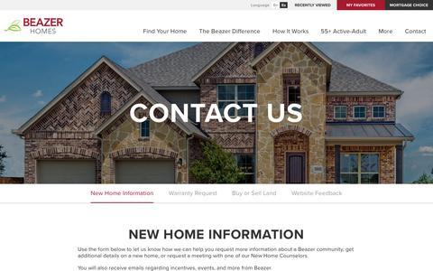 Screenshot of Contact Page beazer.com - Contact Us - New Home Information - Beazer Homes - captured June 21, 2019
