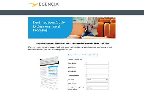 Screenshot of Landing Page egencia.com - Business Travel Management: How to Start Your Own Program - captured April 16, 2016