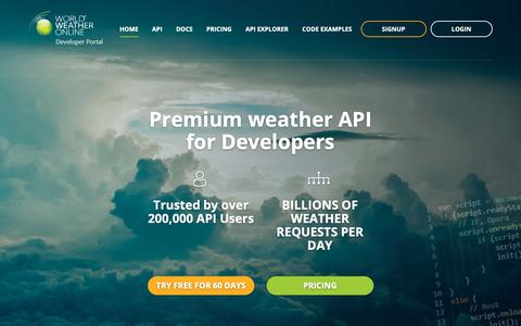 Screenshot of Developers Page worldweatheronline.com - Weather API | JSON Weather | World Weather Online - captured Oct. 17, 2018
