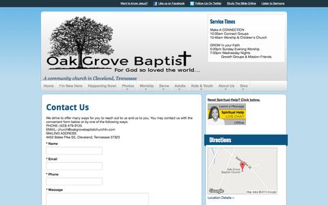 Screenshot of Contact Page oakgrovebaptistchurchtn.com - Contact Us | Oak Grove Baptist - captured Jan. 21, 2016