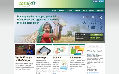 Screenshot of Home Page catalystservices.org - Catalyst Services | Mobilize for missions - captured Sept. 26, 2014