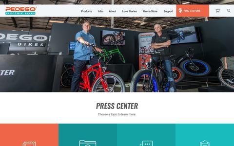 Screenshot of Press Page pedegoelectricbikes.com - Press Center - Information & Assets for Media | Pedego Electric Bikes - captured Oct. 8, 2018