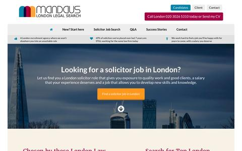Screenshot of Home Page mandaus.com - London Solicitor Jobs | London Legal Recruitment Agency - captured July 22, 2016