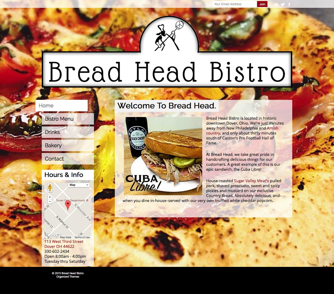 Screenshot of breadheadbistro.com - Bread Head Bistro - captured Sept. 8, 2015