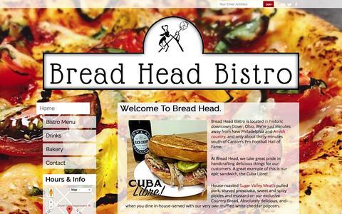 Screenshot of Home Page breadheadbistro.com - Bread Head Bistro - captured Sept. 8, 2015
