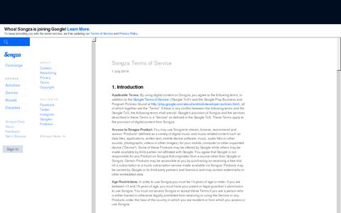 Screenshot of About Page Terms Page songza.com - Terms and Conditions -  Songza - captured July 20, 2014