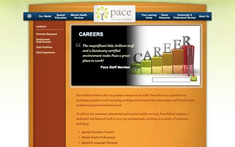 Screenshot of Jobs Page paceschool.org - Careers - captured Sept. 26, 2014