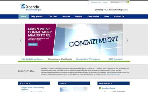 Screenshot of Home Page xcenda.com - Consultancy | HEOR | Managed Markets | Reimbursement | Xcenda - captured Dec. 21, 2015