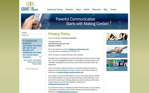 Screenshot of Privacy Page grantandassociates.com - Grant and Associates - Privacy Policy - captured Sept. 30, 2014
