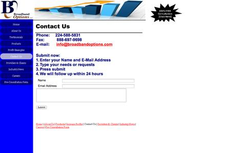 Screenshot of Contact Page broadbandoptions.com - Contact Us - captured Oct. 5, 2014