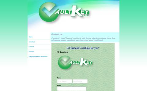 Screenshot of Contact Page thevaultkey.com - Financial and business coaching, The Vault Key, LLC Contact - captured Oct. 9, 2014