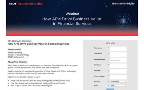 Screenshot of Landing Page tibco.com - How APIs Drive Business Value in Financial Services - captured March 11, 2017