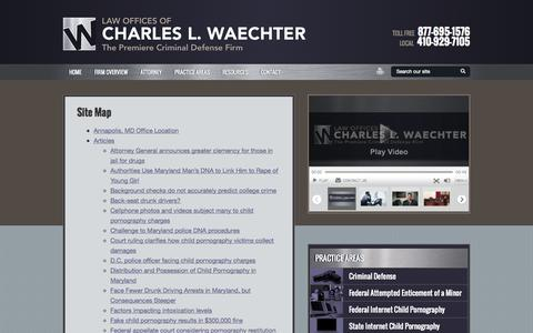 Screenshot of Site Map Page waechterlawfirm.com - Site Map   Law Offices of Charles L. Waechter   Baltimore, Maryland - captured Oct. 2, 2014