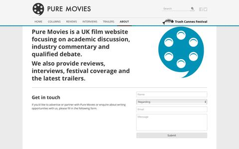 Screenshot of Contact Page puremovies.co.uk - About - Pure Movies : Pure Movies - captured July 24, 2018