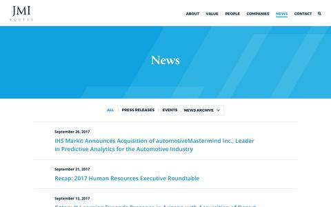 Screenshot of Press Page jmi.com - JMI Equity – News and Events - captured Oct. 4, 2017