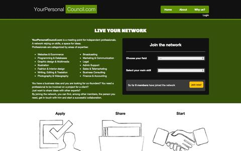 Screenshot of Home Page Privacy Page yourpersonalcouncil.com - Your Personal Council - captured Oct. 7, 2014