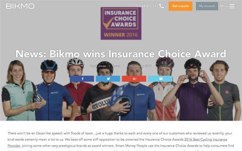 Screenshot of Press Page bikmo.com - News: Bikmo wins Insurance Choice Award - Bikmo - captured Jan. 18, 2017