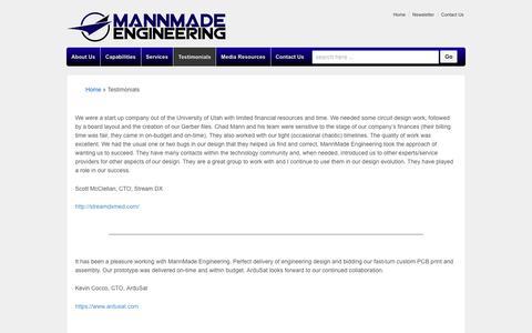 Screenshot of Testimonials Page mannmadeengineering.com - Testimonials - captured Feb. 4, 2016