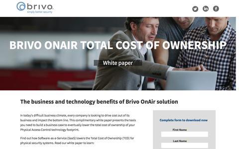 Screenshot of Landing Page brivo.com - Brivo OnAir Total Cost of Ownership - captured Oct. 23, 2016
