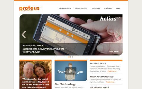 Screenshot of Home Page proteusdigitalhealth.com - Proteus Digital Health - captured Sept. 17, 2014