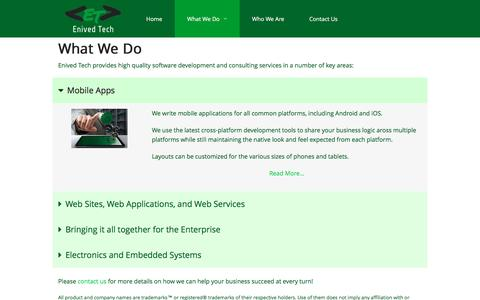 Screenshot of Services Page enived.com - Enived Tech | What We Do - captured Nov. 8, 2016