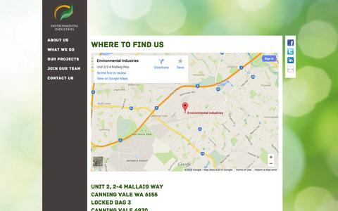 Screenshot of Contact Page environmentalindustries.com.au - Contact Us - Environmental Industries - captured Oct. 2, 2014