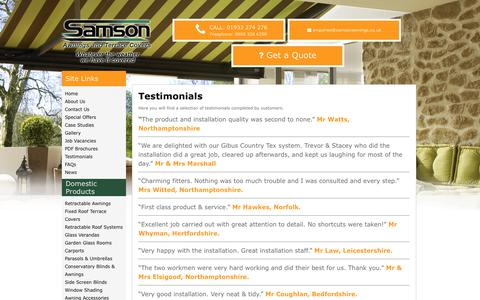 Screenshot of Testimonials Page samsonawnings.co.uk - Testimonials - Samson Awnings - captured May 28, 2017