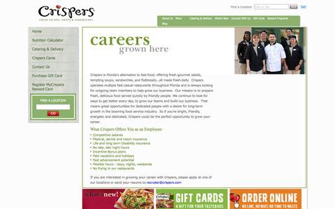 Screenshot of Jobs Page crispers.com - Careers | Casual Restaurant | Crispers - captured Sept. 23, 2014