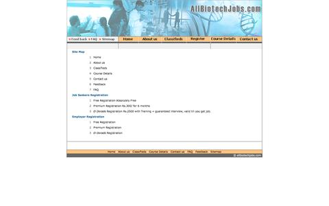 Screenshot of Site Map Page allbiotechjobs.com - Allbiotechjobs.com bringing together job seekers and job providers in Biotechnology - captured Feb. 5, 2016