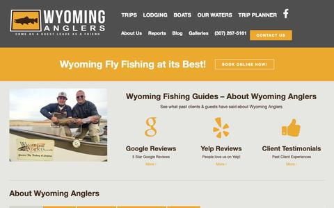 Screenshot of About Page wyominganglers.com - Wyoming Fishing Guides - Wyoming Anglers Fly Fishing - captured Oct. 20, 2018