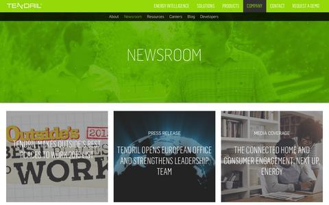 Screenshot of Press Page tendrilinc.com - Newsroom   Tendril - captured Jan. 17, 2016