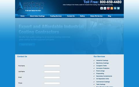 Screenshot of Contact Page azteccoatings.com - Contact Aztec Coating | Aztec Coatings - captured Oct. 4, 2014