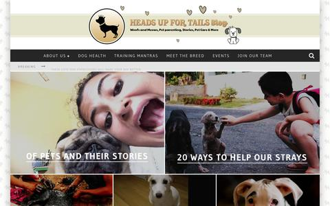 Screenshot of Blog headsupfortails.com - Dog Blog India - Dog Articles, Pet Related Stories | Headsupfortails.com - captured July 20, 2015