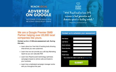 Screenshot of Landing Page reachlocal.com - We Are Your Partner for Google Advertising - captured March 14, 2016