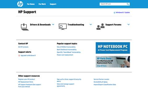 Screenshot of Support Page hp.com - HP Support, Drivers, Contact and Help Forums | HP® Support - captured Oct. 22, 2014