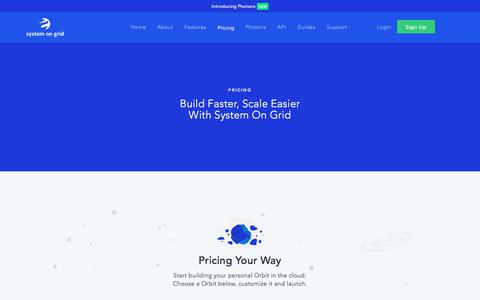 Screenshot of Pricing Page systemongrid.com - Pricing | System On Grid - captured July 10, 2018