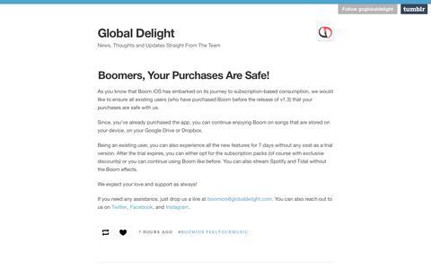 Screenshot of Blog globaldelight.com - Global Delight - captured Sept. 19, 2018