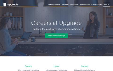 Screenshot of Jobs Page upgrade.com - Careers | Upgrade - captured Aug. 22, 2018