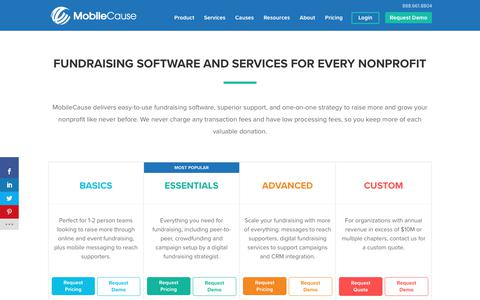 Screenshot of Pricing Page mobilecause.com - Fundraising Software Pricing | MobileCause - captured Dec. 7, 2019