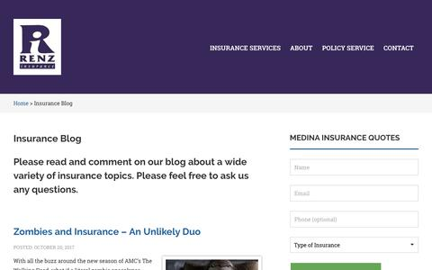 Screenshot of Blog renzinsurance.com - Renz Insurance Agency Blog - captured Oct. 21, 2017